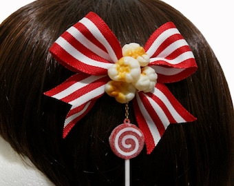 Striped Carnival Popcorn and Lollipop Hair Clip and Pin