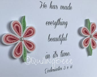 Religious Gift, Religious Bible Verse Gift, Bible Verse, Quilled Flower Decorated Bible Verse, Bible Verse Frame,