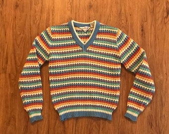 SHOP SALE Vintage 80s Rainbow Pastel Striped Knit Sweater M