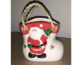 Vintage Santa Boot Bag Planter,Santa Gift Box,Santa Bag,Santa Trinket Dish,Santa Vase,Santa,Santa Planter,Collectible Santa,Kitsch,Holidays