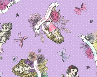 Disney Princess Badges on Purple Cotton Woven Fabric 1 Yard listing