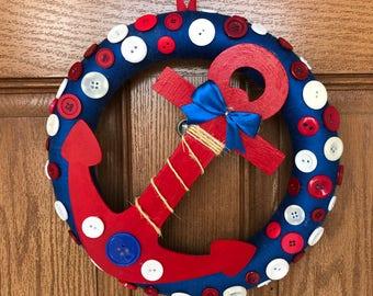 Anchor Wreath / Boy's Room Wreath / Blue Nursery Wreath / Nautical Wreath / Blue Yarn Wreath / Red Blue Button Wreath / Nautical Nursery