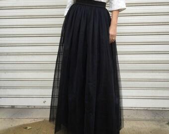 "Black Long Tulle Skirt, Women Tutu Skirt, Princess Skirt,  Wedding Skirt - – ""Choose to be me' / EXPRESS SHIPPING / MD 10081"