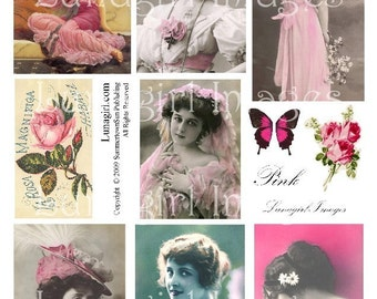 VINTAGE PINK digital collage sheet, Victorian ladies girls flapper goddess women, flowers roses, photos French postcards ephemera DOWNLOAD