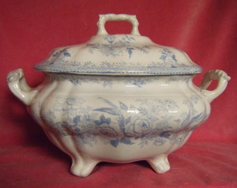 Asiatic Pheasants Soup Tureen Blue and White Transferware c.1890 Antique (Some Damage)