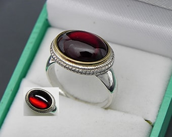 AAAA Natural Hessonite Garnet Cabochon Untreated   14x10mm  6.0 Carats   in 18K Yellow gold and Sterling silver ring.  0826 MMMM