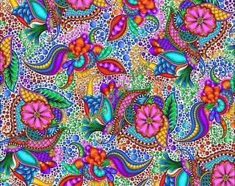 "Quilting Treasure Debi Payne ""Carnivale"" #26369-ZX Large Paisley Fabric Priced Per 1/2 Yard"