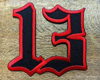 No. 13 Lucky Number Thirteen Biker Motorcycle V01 Applique Iron on Patch Sew