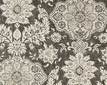 Scalloped Valance. Gray Valance. Grey Beige Cream 52 x16 50 x 16 lined window valance. Designer Valance. decorative valance. Kitchen Valance