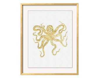 Octopus print, Gold Octopus Wall Art, Vintage Octopus Wall Art, Faux Gold Octopus Print, Nautical Decor, Beach House Wall Art, Sealife Print