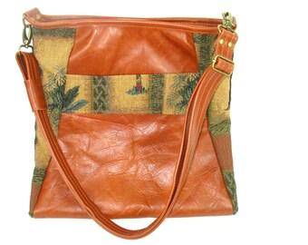 Leather Messenger Bag - Cross Body Handbag - Leather and Tapestry Purse - Womens Handbag