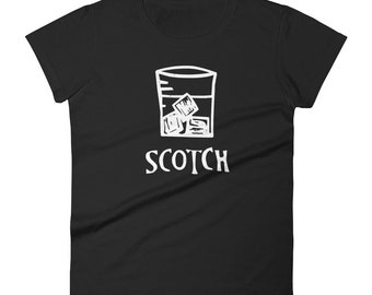Women's Scotch t-shirt - Scotch on the Rocks Linocut art - Scotch Whiskey shirt