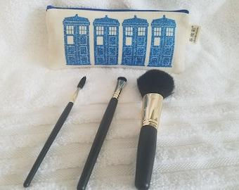 Tardis Makeup Brush Bag, Makeup Storage, Cosmetic Bag, Travel Bag, Canvas Bag, Bridesmaid Gift, Makeup Organizer, Dr. Who