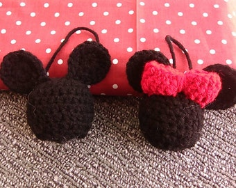 Crocheted Mickey & Minnie Mouse Bell Ornaments