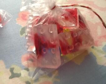 Handmade, homemade soap for kids - building blocks, robots