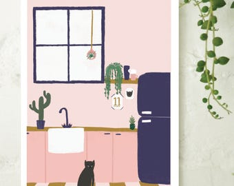 Cat Kitchen Illustration Print, House Plant Print A5