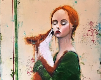 """Emma Greenhill Art print """"Agatha"""" Matted print on heavy watercolor paper"""