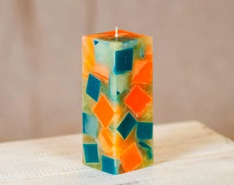 Chunk Candle Home Decor, Orange Teal Candle Housewarming Gift, Handmade Pillar Candle, Orange Scent or Unscented.