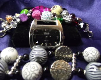 Elixir Womam's Watch with 2 Beaded Bands Mixed Beads and Acrylic Beads B029