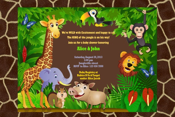 Jungle Animal Safari Baby Shower Invitation with ultrasound
