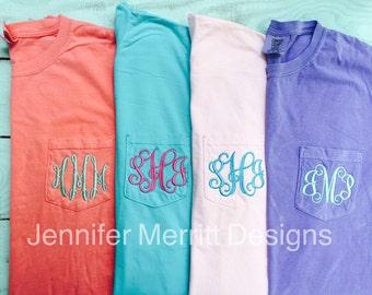 Monogram shirt, Comfort Colors, Comfort Colors Tshirts, Comfort Colors Monogram, Comfort Colors Pocket Monogram, bridesmaid gift