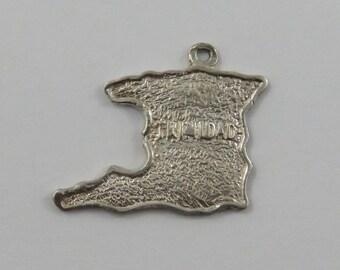 Map of Trinidad Sterling Silver Vintage Charm For Bracelet