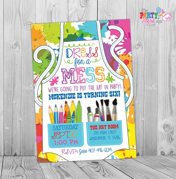Painting party invitation art party invitation art birthday for Kids paint party