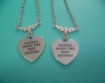 Sisters Best Friends Heart Necklace Sisters Jewelry or Twins Sisters Gift