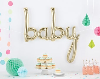 BABY Script Balloon, Baby Balloons, Script, Baby, Letter, Banner, White Gold, Garland, Baby Banner, Birthday, Rose Gold, White Gold Blue