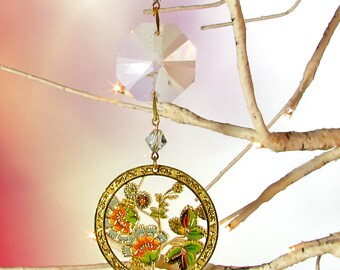 Crystal Prism Sun Catcher, Christmas Decoration, Flowers, 1S-47