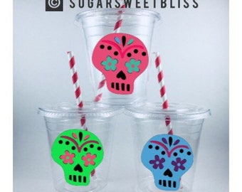 Sugar Skull PARTY CUPS Dia De Los Muertos Birthday Favors Cup Set personalized Customized Day of the Dead Skeleton