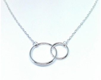 Necklace silver interlocking circles 925/000 - fusion necklace, necklace you and me - Silver 925 - Two Circles 925 silver sterling necklace