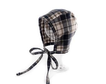"""Baby Bonnet """"Brown Plaid"""". Baby Bonnet. Flannel Hat. Baby Hat. Plaid Hat. Boy Hat. Vintage Bonnet."""