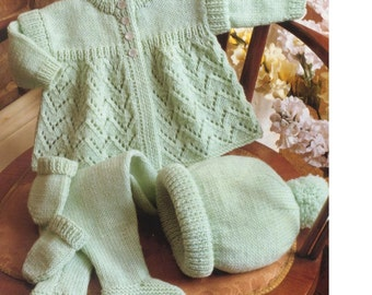 BABY KNITTING PATTERN - Baby Coat/Sweater, Leggings, Hat and Mittens  16 - 18 ins