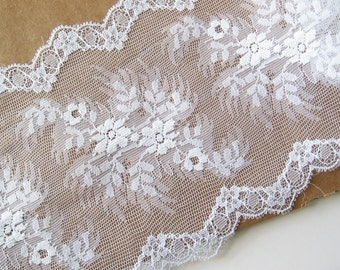 """2 yards wide white lace trim 5.5"""" wide"""
