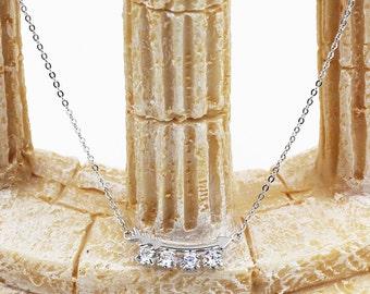 Fish bone crystal necklace