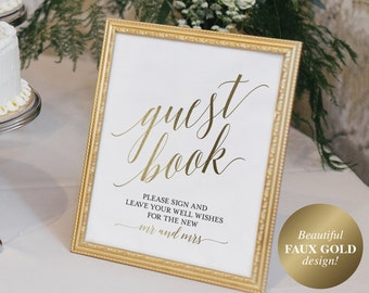 Guest Book Sign, Guest Book Alternative, Guest Book Printable, Wedding Sign, Gold Wedding, Guest Book Idea, PDF Instant Download #BPB324_45C