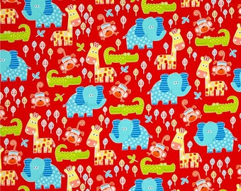 Swingin' Safari Animal Allover Red Fabric by Diane Eichler  for Henry Glass Fabrics #3691-88