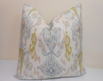 Robert Allen Khanjali Glacier Pllow Cover - pale aqua, taupe and yellowy-lime Ikat Pillow Cover- Ikat Accent Pillow  - Euro Sham