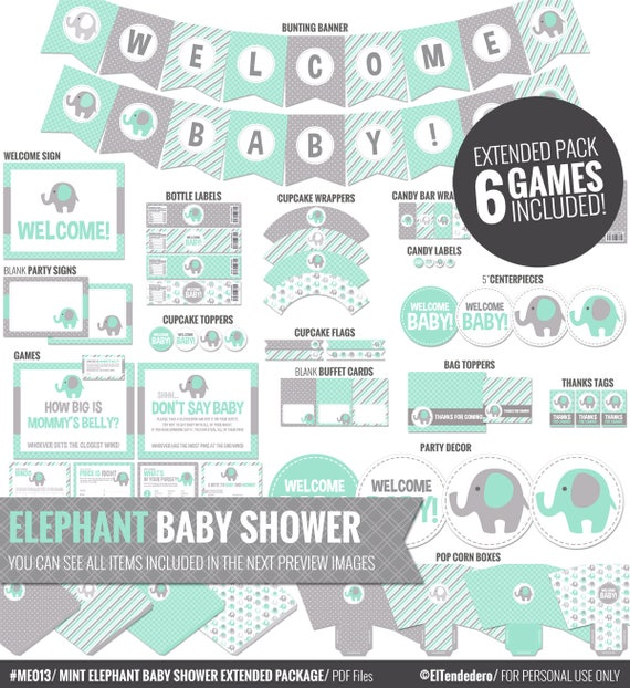 decoraci n baby shower elefante verde menta y gris pack. Black Bedroom Furniture Sets. Home Design Ideas