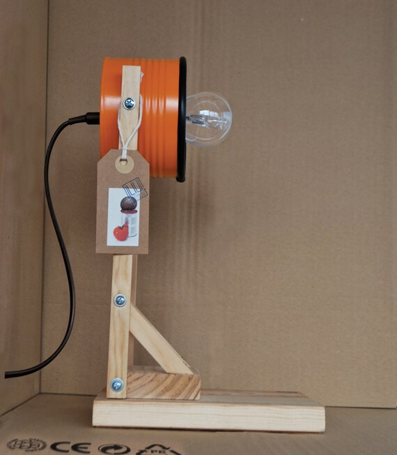 Orange desk lamp bedside lamp table lamp eco friendly recycled from tomato