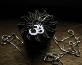 Brushed Sterling Silver OM Symbol Pendant Chain Necklace Spiritual Religious