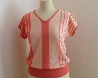 80s Peach Pink Dolman Sleeve V Neck Shirt Short Sleeve Striped Medium