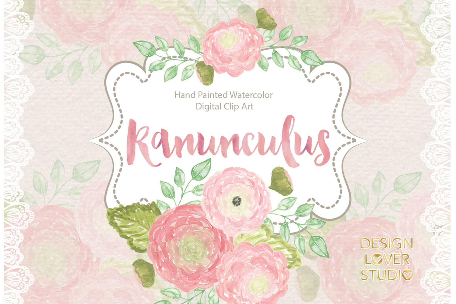 Watercolor Ranunculus Flowers Clipart Spring Flower Clipart Pink