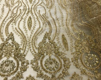 Gold hand beaded lace fabric embroider with metallic tread on a mesh-bridal-prom-decorations-nightgown-sold by the yard.