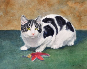 Black and White Cat Art, Cat Art Print, Black and White Cat Print, Black and White Cat Watercolor, Cat Art from Painting by P. Tarlow