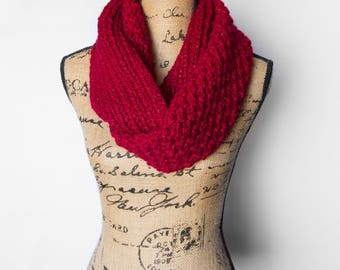Red Sparkle Chunky Knit Infinity Scarf