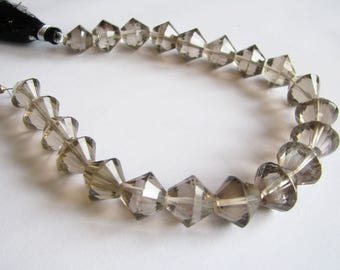 Light Smoky Quartz fancy faceted rondelles, double bicone beads, 8 inch strand, 9.5-13.5mm (w191)