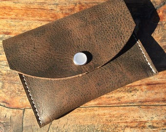 Brown Leather Coin Purse, Card Holder, Wallet