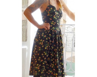 1990's floral backless with cardigan set TEHEN DRESS // set of  dress and cardigan // size eu 36 - uk 8 - us 4